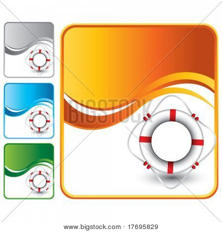 life ring on multicolored wave backgrounds
