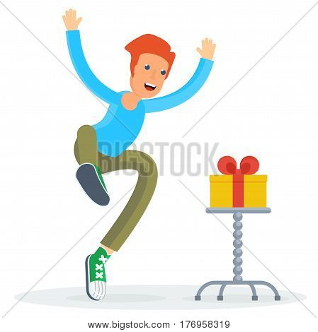 Happy Man With Gift