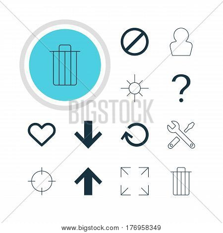 Vector Illustration Of 12 User Icons. Editable Pack Of Maintenance, Wide Monitor, Downward And Other Elements.