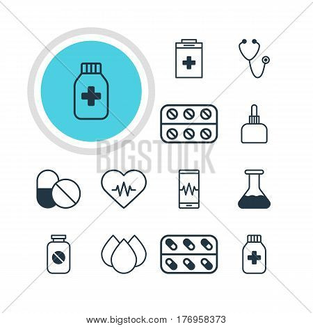 Vector Illustration Of 12 Medicine Icons. Editable Pack Of Pulse, Trickle, Exigency And Other Elements.