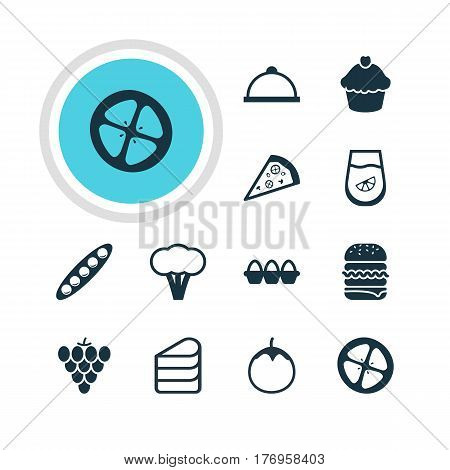 Vector Illustration Of 12 Meal Icons. Editable Pack Of Cotton, Patisserie, Love Apple And Other Elements.