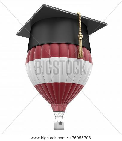 3D Illustration. Hot Air Balloon with Latvian flag and Graduation cap. Image with clipping path