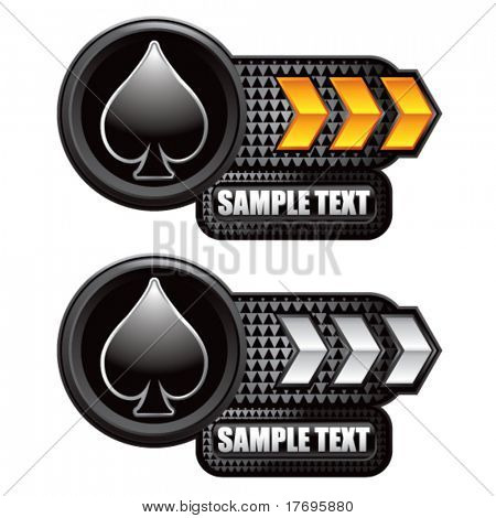 playing card suits on arrow banners