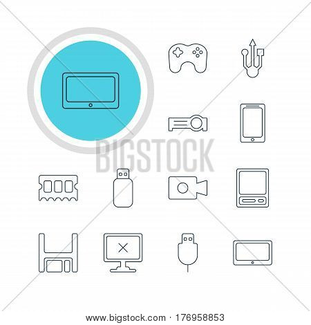 Vector Illustration Of 12 Notebook Icons. Editable Pack Of Memory Chip, Presentation, Smartphone And Other Elements.