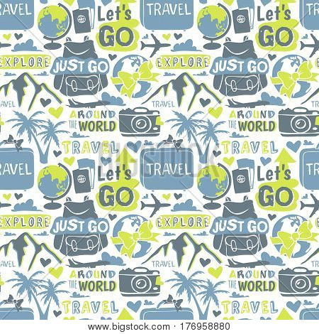 Vintage typography travel motivation bage adventure vector set. Adventure poster emblem travel motivation badge lettering element. Travel motivation badge typography label concept. seamless patterns