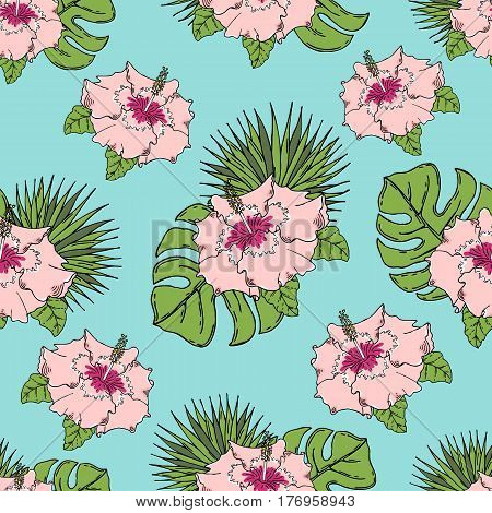 Pattern with tropical leaves and flowers. On a blue background. Seamless.