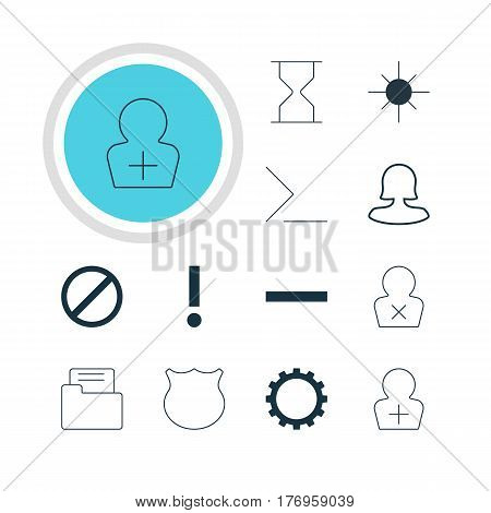 Vector Illustration Of 12 Member Icons. Editable Pack Of Register Account, Dossier, Alert And Other Elements.