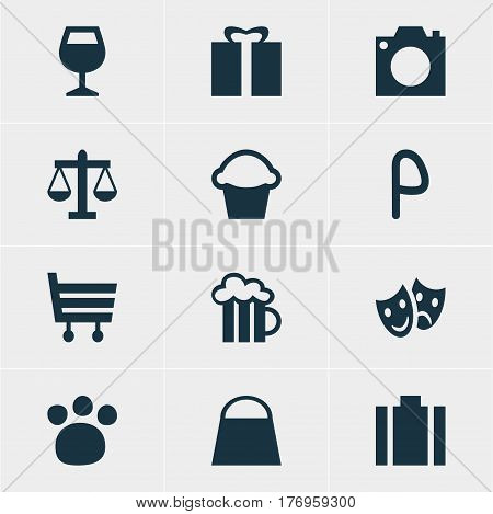 Vector Illustration Of 12 Travel Icons. Editable Pack Of Briefcase, Cake, Shopping Cart And Other Elements.