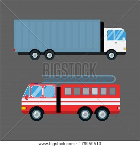 Fire truck car cartoon silhouette. Delivery transport cargo logistic isolated on white background. Fire truck mobile fast emergency service fast moving. Vector illustration fire emergency truck.
