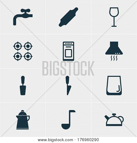 Vector Illustration Of 12 Cooking Icons. Editable Pack Of Extractor Appliance, Furnace, Teakettle And Other Elements.