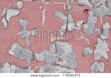Close-up Weathered And Stained Obsolete Pink Concrete Wall Texture