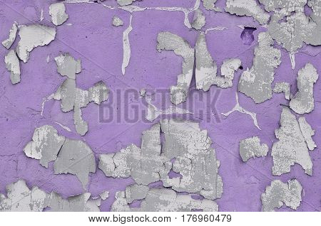 Close-up Weathered And Stained Obsolete Violet Concrete Wall Texture