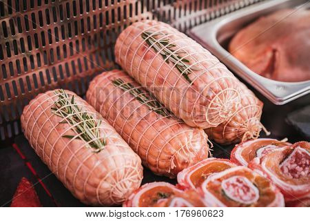 Typical sausage handmade in an Italian butcher.