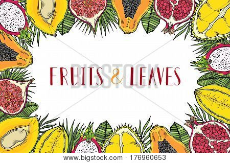 Frame of fruits and tropical leaves. With the words Healthy food. White background. Lettering.