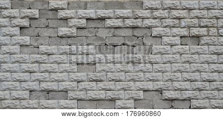 Grey Concrete Block Wall Texture With Cracked Surface