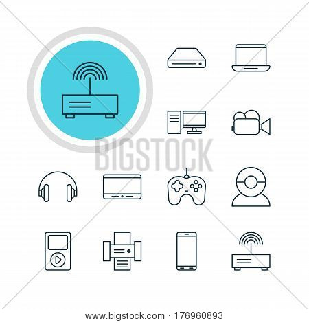 Vector Illustration Of 12 Hardware Icons. Editable Pack Of Monitor, Modem, PC And Other Elements.