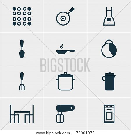 Vector Illustration Of 12 Cooking Icons. Editable Pack Of Timekeeper, Oven, Dinner Table And Other Elements.