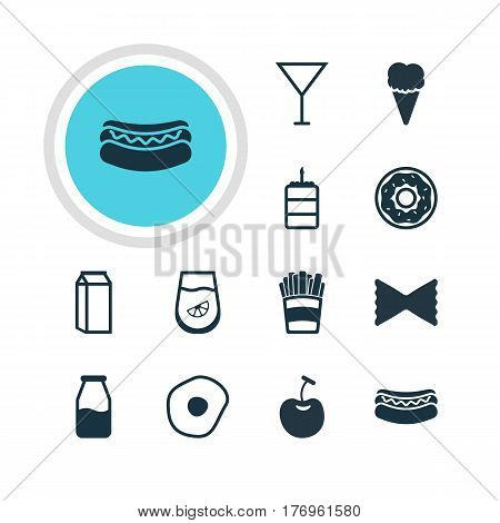 Vector Illustration Of 12 Dish Icons. Editable Pack Of Pastry, Streetfood, Juice And Other Elements.