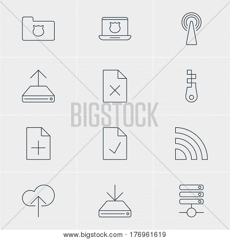 Vector Illustration Of 12 Network Icons. Editable Pack Of Delete Data, Checked Note, Hdd Sync And Other Elements.