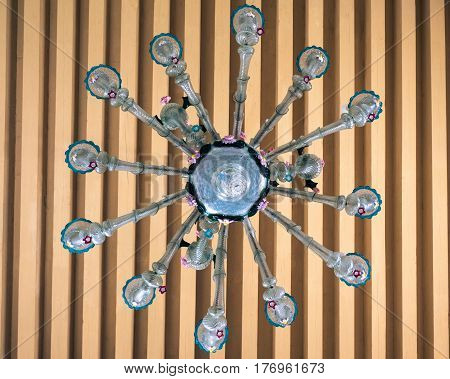Antique chandelier of blown glass handmade by master glassblowers of Burano Italy.