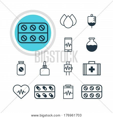 Vector Illustration Of 12 Medicine Icons. Editable Pack Of Heartbeat, Aspirin, Medical Bag And Other Elements.