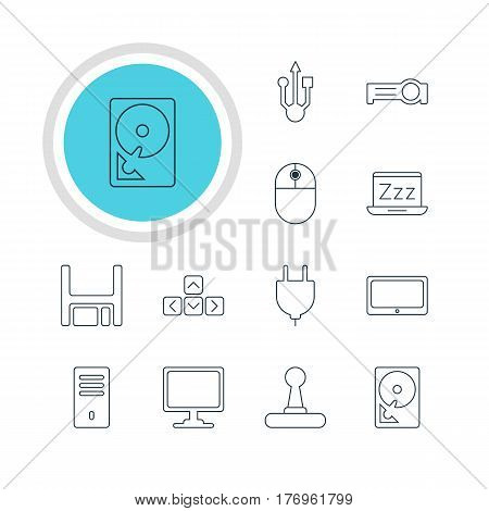 Vector Illustration Of 12 Computer Icons. Editable Pack Of Socket, Cursor Manipulator, Screen And Other Elements.