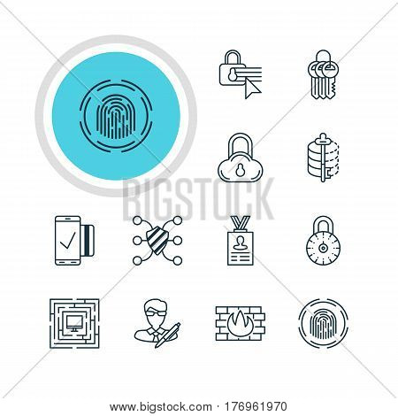 Vector Illustration Of 12 Protection Icons. Editable Pack Of Account Data, Safe Storage, Encoder And Other Elements.