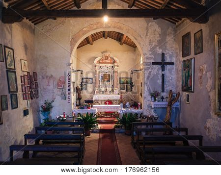 San Bonifacio Italy - March 11 2017: Interior of the votive church of Saint Mary of the Alzana famous for the many unexplained healings.