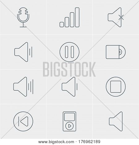 Vector Illustration Of 12 Music Icons. Editable Pack Of Audio, Lag, Decrease Sound And Other Elements.