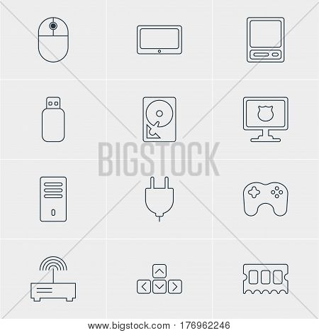 Vector Illustration Of 12 Laptop Icons. Editable Pack Of Pda, Hard Drive Disk, Socket And Other Elements.