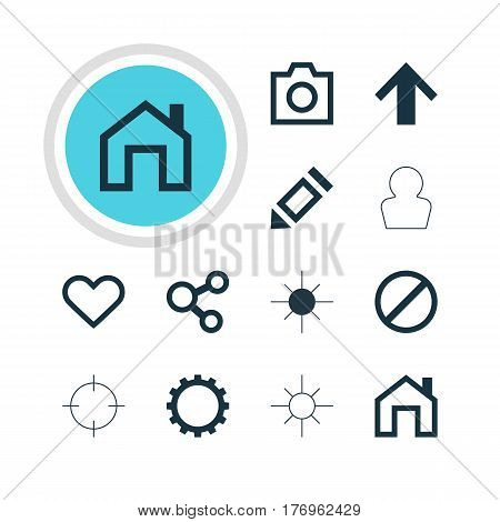 Vector Illustration Of 12 User Icons. Editable Pack Of Access Denied, Full Brightness, Pen And Other Elements.