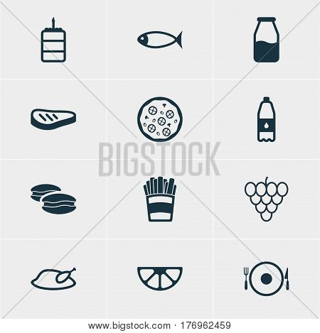 Vector Illustration Of 12 Meal Icons. Editable Pack Of Biscuit, Grill, Cruet And Other Elements.