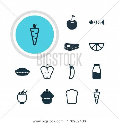 Vector Illustration Of 12 Cooking Icons. Editable Pack Of Flan, Loaf, Skeleton And Other Elements.