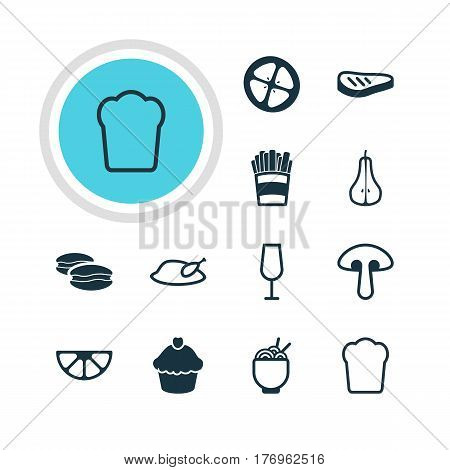 Vector Illustration Of 12 Meal Icons. Editable Pack Of Muffin, Biscuit, Duchess And Other Elements.