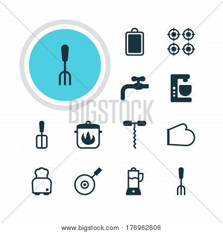 Vector Illustration Of 12 Restaurant Icons. Editable Pack Of Wine Opener, Furnace, Cooking Spade And Other Elements.