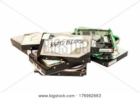 Stack Of Broken Hard Disk Drives. Isolated
