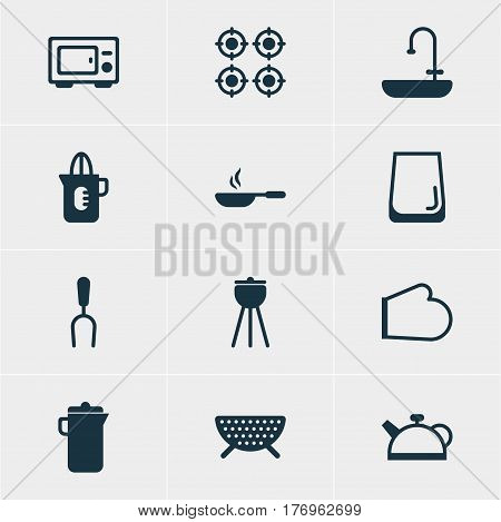 Vector Illustration Of 12 Cooking Icons. Editable Pack Of Washstand, Barbecue Tool, Oven Elements.