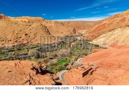 Landscape of the Assif Mgoun Valley at Bou Tharar in Morocco, Africa