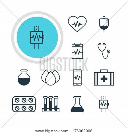 Vector Illustration Of 12 Health Icons. Editable Pack Of Vial, Antibody, Trickle And Other Elements.