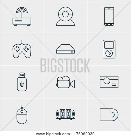 Vector Illustration Of 12 Hardware Icons. Editable Pack Of Camcorder, Media Controller, Loudspeaker And Other Elements.
