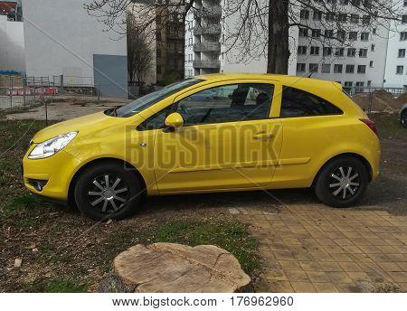 LEIPZIG GERMANY - CIRCA MARCH 2016: yellow Seat Ibiza car