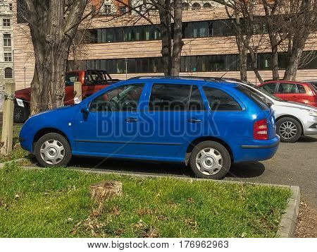 Blue Car Parked In Leipzig