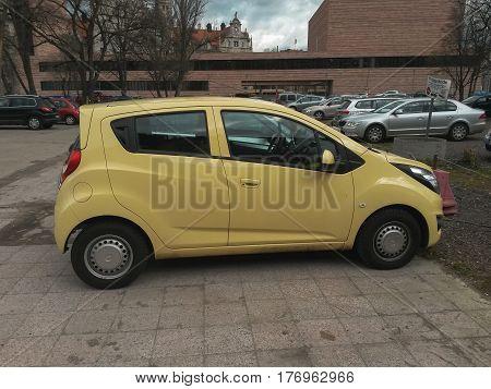 Yellow Chevrolet Spark Car In Leipzig