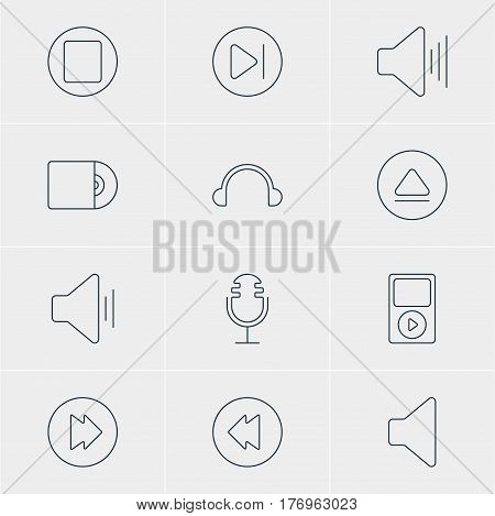 Vector Illustration Of 12 Music Icons. Editable Pack Of Volume Up, Rewind, Pause And Other Elements.