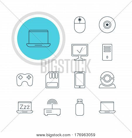 Vector Illustration Of 12 Laptop Icons. Editable Pack Of Online Computer, Cursor Manipulator, Smartphone And Other Elements.