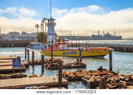 San Francisco, California, United States - August 14, 2016: speed boat with tourists leaving Pier 39 and Sea Lions. San Francisco skyline cityscape at sunset on background. Travel and leisure concept.
