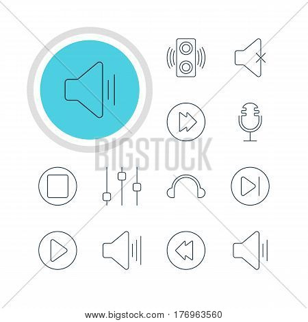 Vector Illustration Of 12 Music Icons. Editable Pack Of Advanced, Volume Up, Earphone And Other Elements.