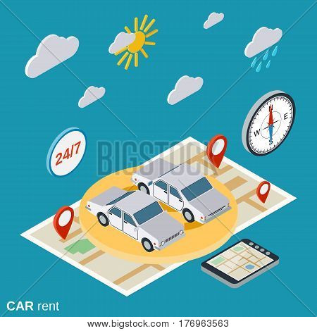 Car rent flat isometric vector concept illustration