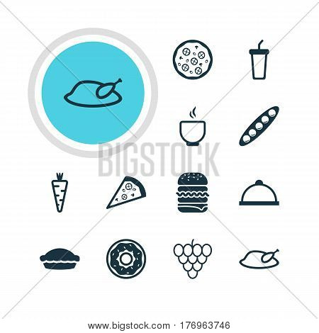 Vector Illustration Of 12 Meal Icons. Editable Pack Of Sandwich, Cake , Grill Elements.