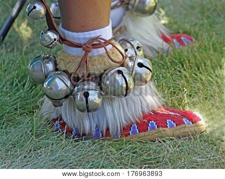 Beaded Moccasins with Jingles at a Native American Powwow